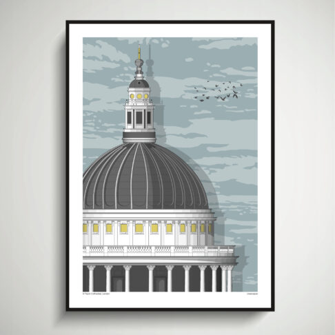 One of the major London landmarks. St. Paul's Cathedral as a modernist, architectural line -drawn print..