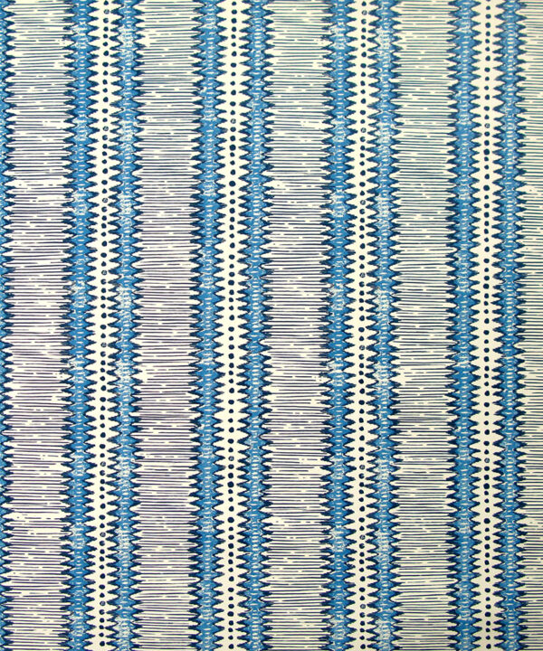 Striped blue and white wallpaper in a West-African-inspired, zig-zag design.