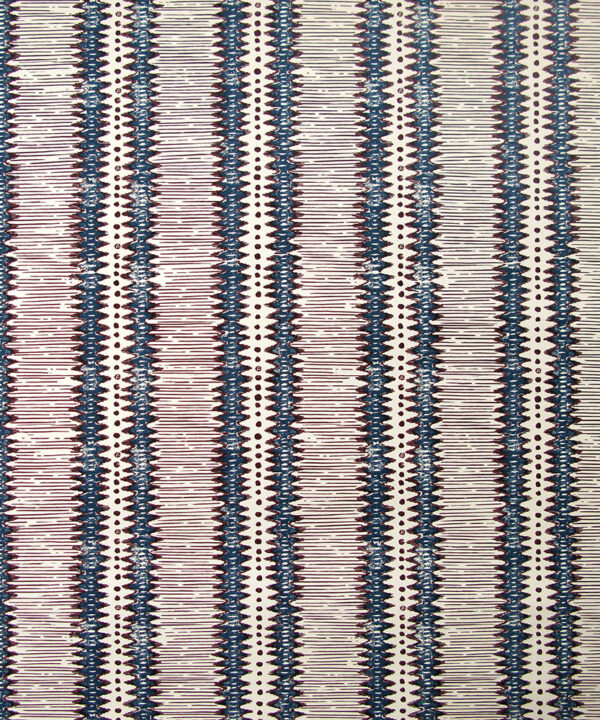 Indigo wallpapers hand-printed in England. A bold, zig-zag stripe inspired by West African design.