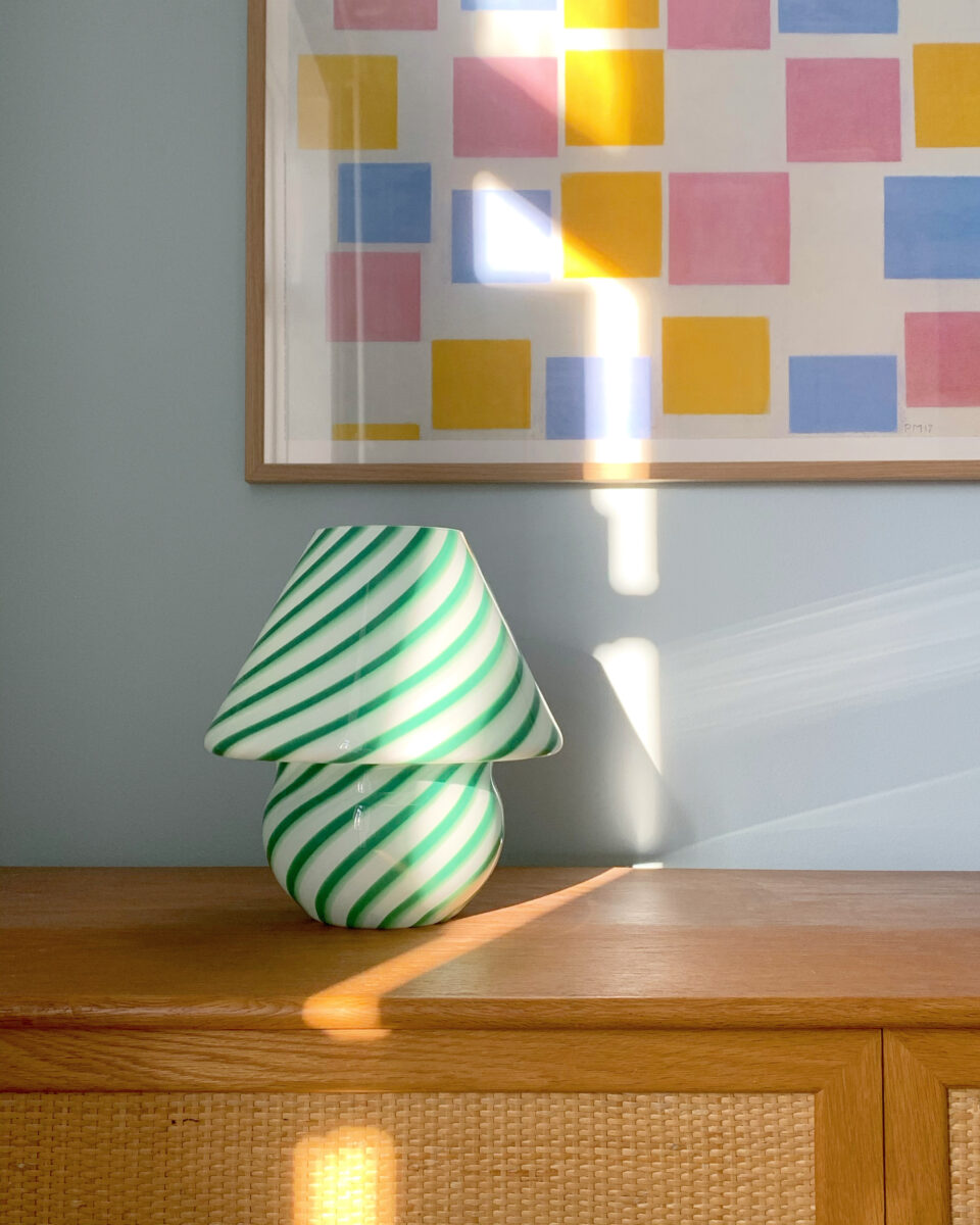 A green, swirly, Murano glass table lamp for your living room.